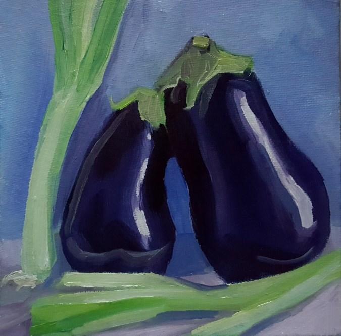 """Aubergines and Scallions I"" original fine art by J M Needham"