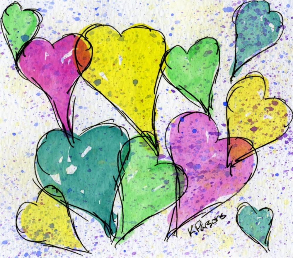 """Hearts!"" original fine art by Kali Parsons"