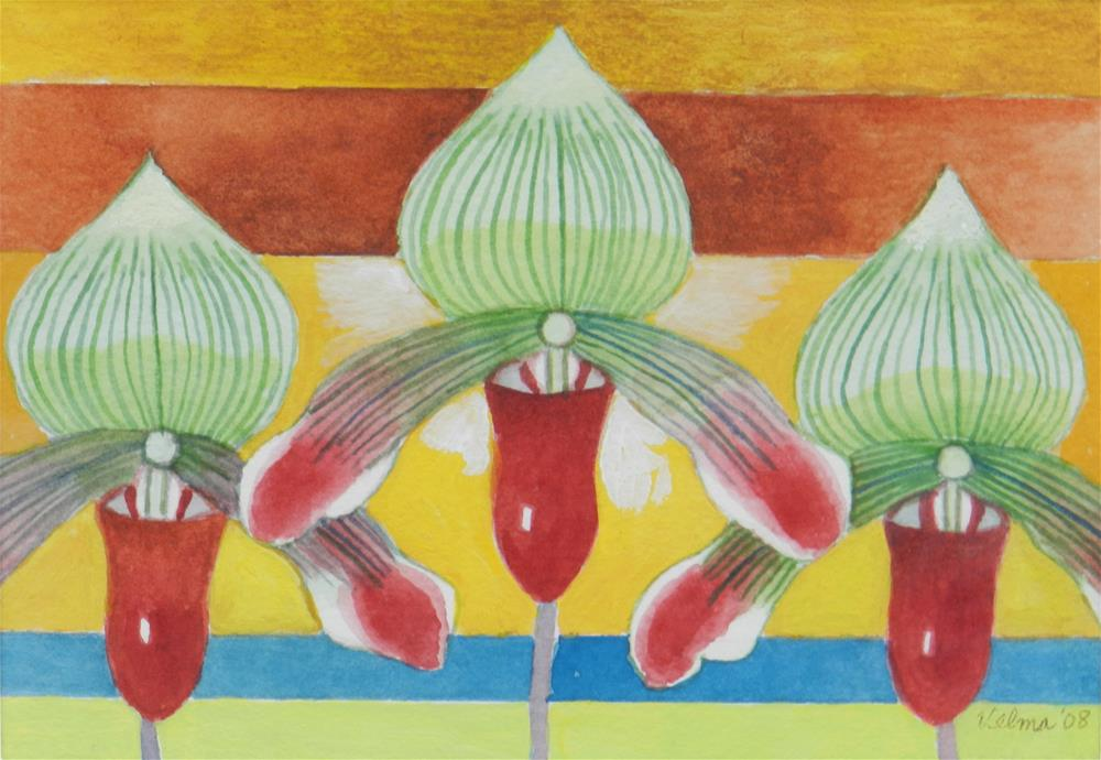 """""""Three Green and Red Orchids"""" original fine art by Velma Davies"""