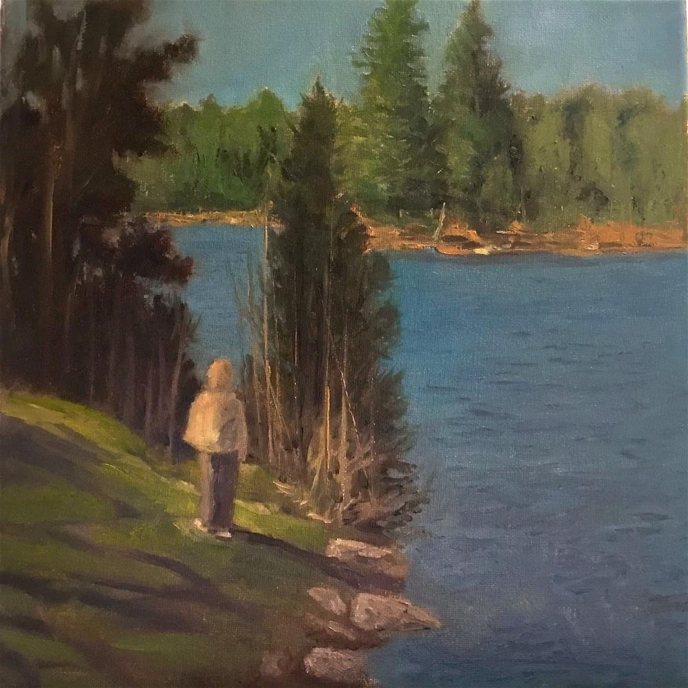 """the edge of the lake in Vermont"" original fine art by Betty Argiros"