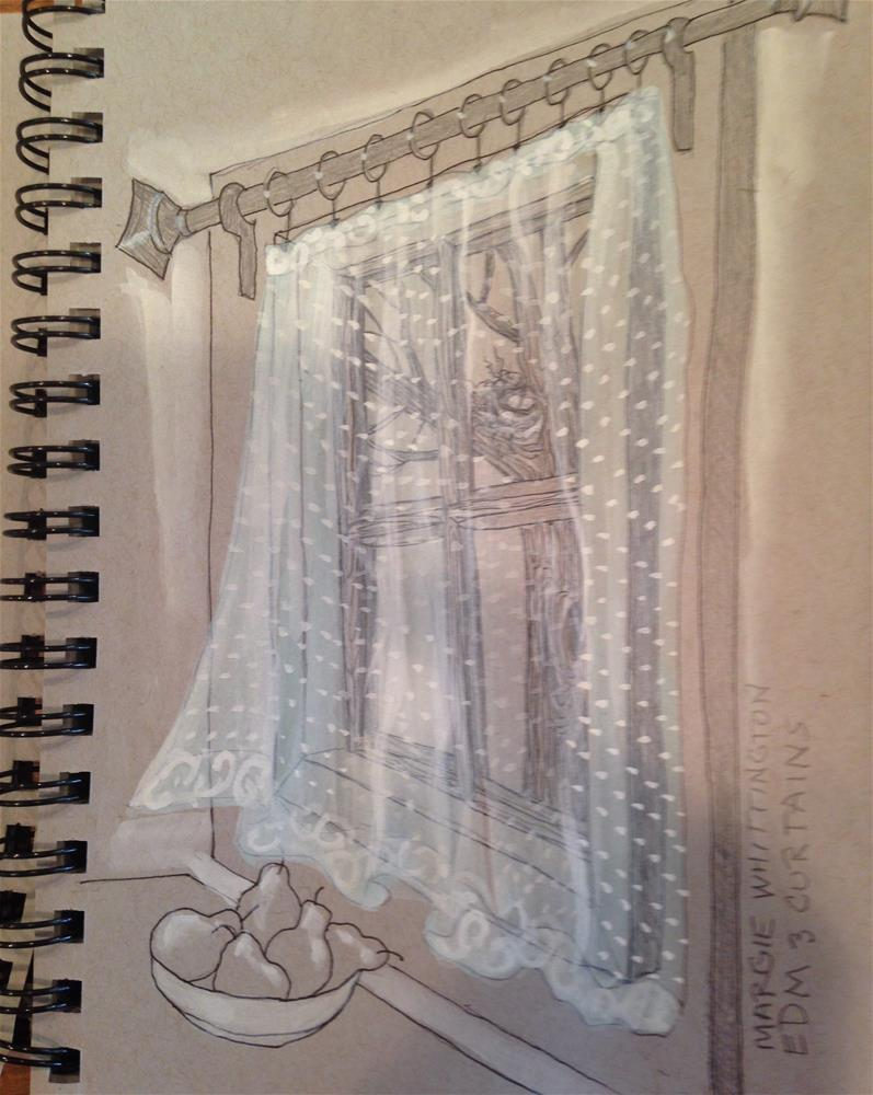 """Dotted Swiss Curtains"" original fine art by Margie Whittington"