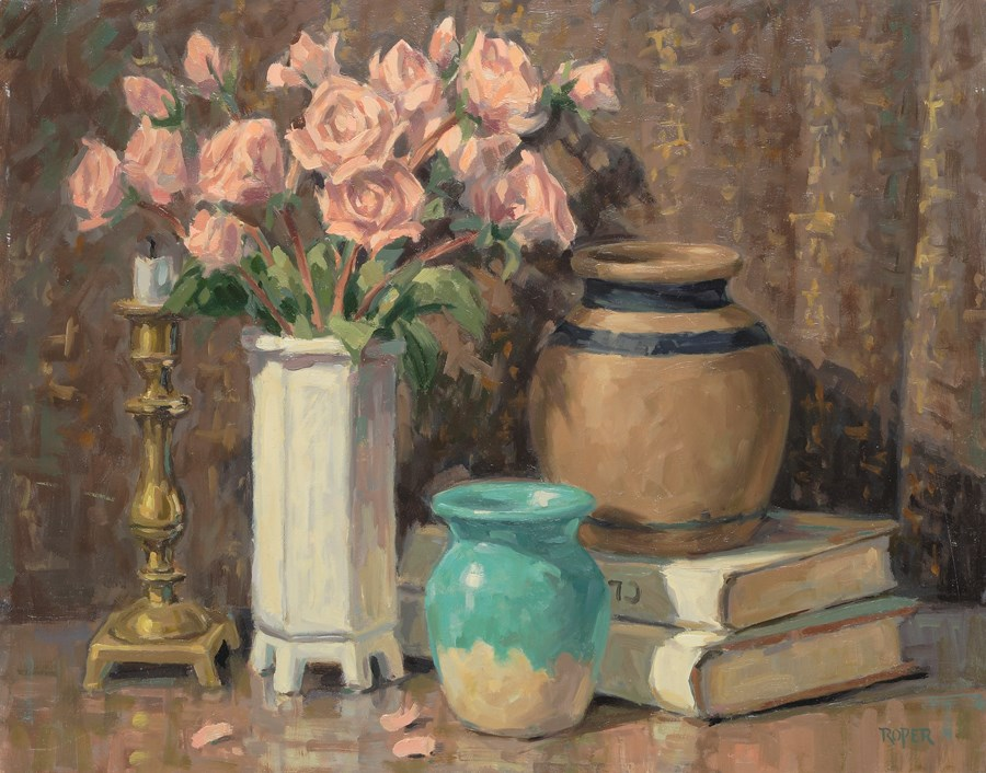 """DAY 24:  Still Life With Roses"" original fine art by Stuart Roper"