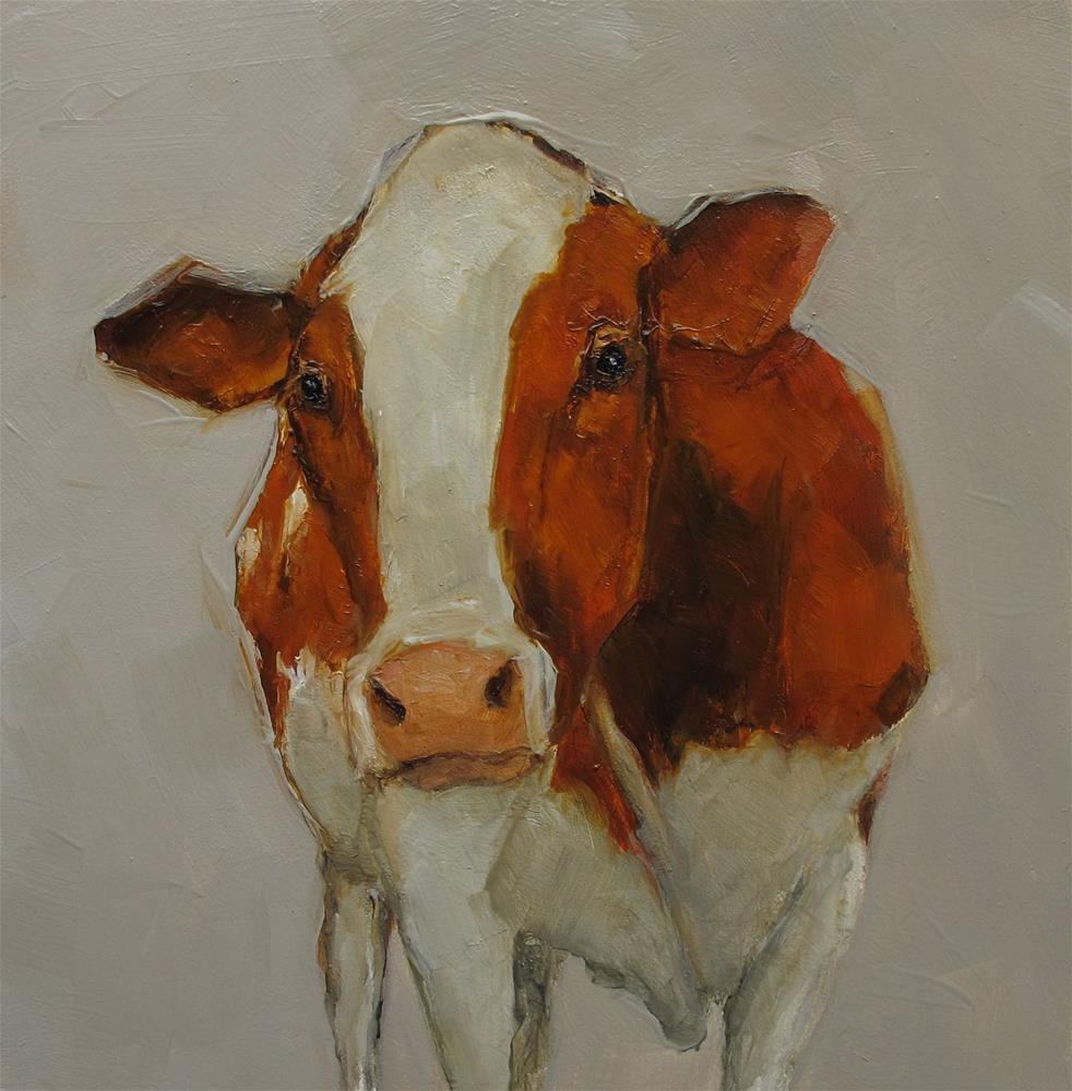 """HOLSTEIN COW Farm Folk Farmhouse Original Art Colette Davis 6x6 Painting OIL"" original fine art by Colette Davis"