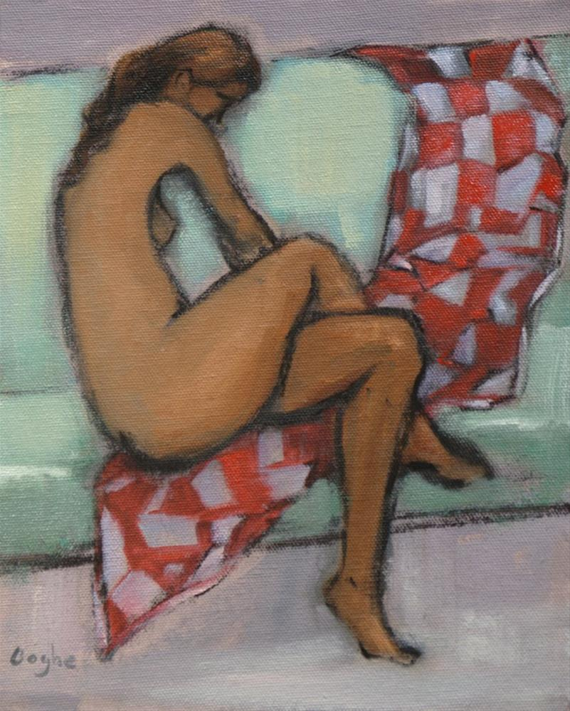 """""""Nude with Red and White Blanket"""" original fine art by Angela Ooghe"""