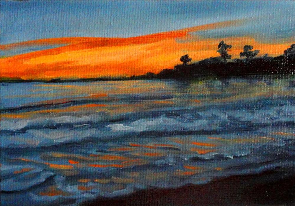 """Sunset Over The Ocean"" original fine art by Cietha Wilson"