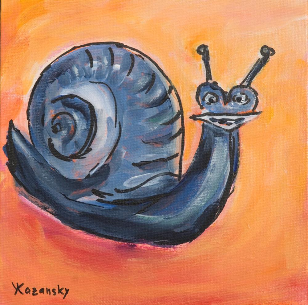 """Little snail figurine"" original fine art by Yulia Kazansky"