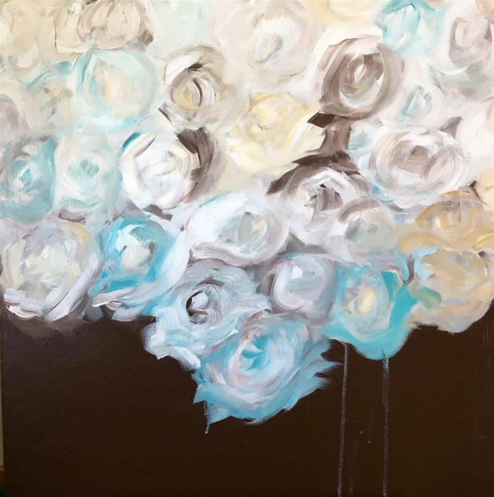 """FLORAL SERIES - #2 Touch of Teal"" original fine art by Kimberly Balentine"