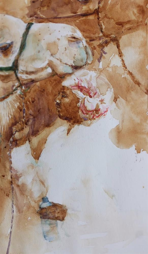 """""""Al Marmoom Camel racetrack 6/7"""" original fine art by Midori Yoshino"""