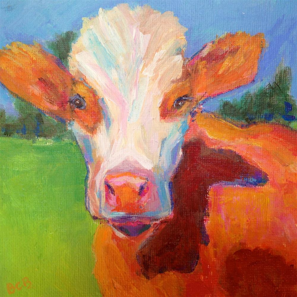 """Moo are you?"" original fine art by Beth Carrington Brown"