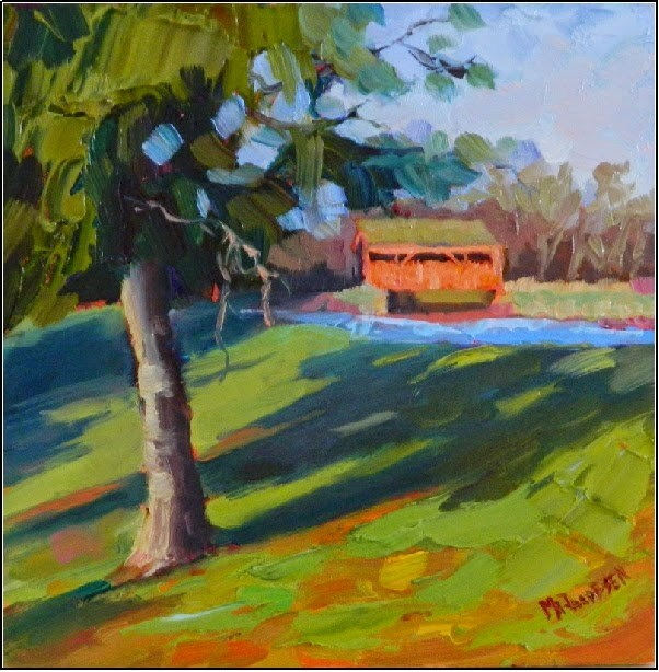 """Covered Bridge on Yoder Road, 6x6, oil on board-paintings of Chester County, Pennsylvania, Elverso"" original fine art by Maryanne Jacobsen"