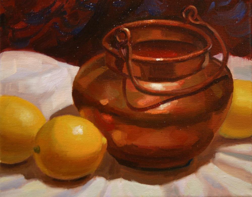 """Lemons and Copper Pot"" original fine art by K.R. McCain"