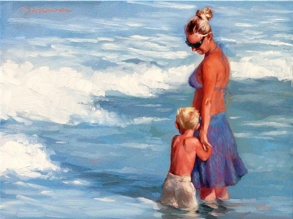 """""""Under Her Wing--Series Painting of Mother and Child at Beach"""" original fine art by Joanna Bingham"""