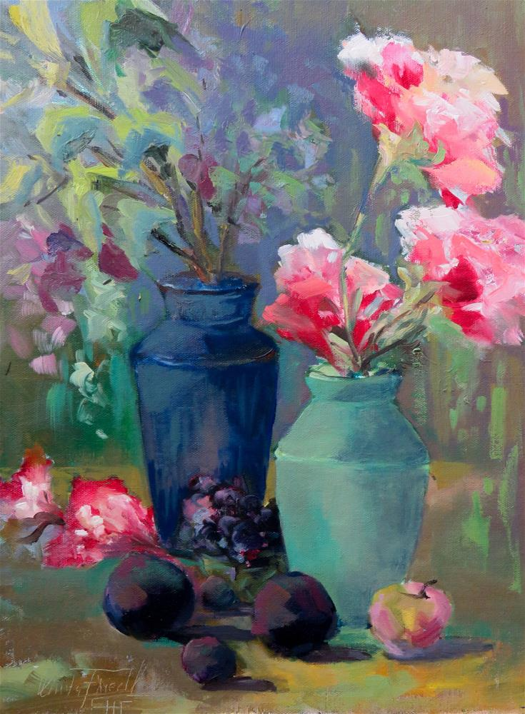"""Still life with blue and green vase"" original fine art by Christa Friedl"