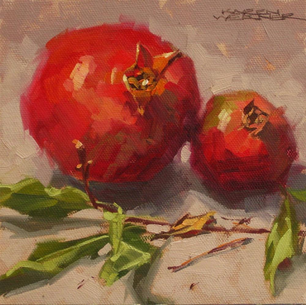 """""""Twigs & Pomegranates"""" original fine art by Karen Werner"""
