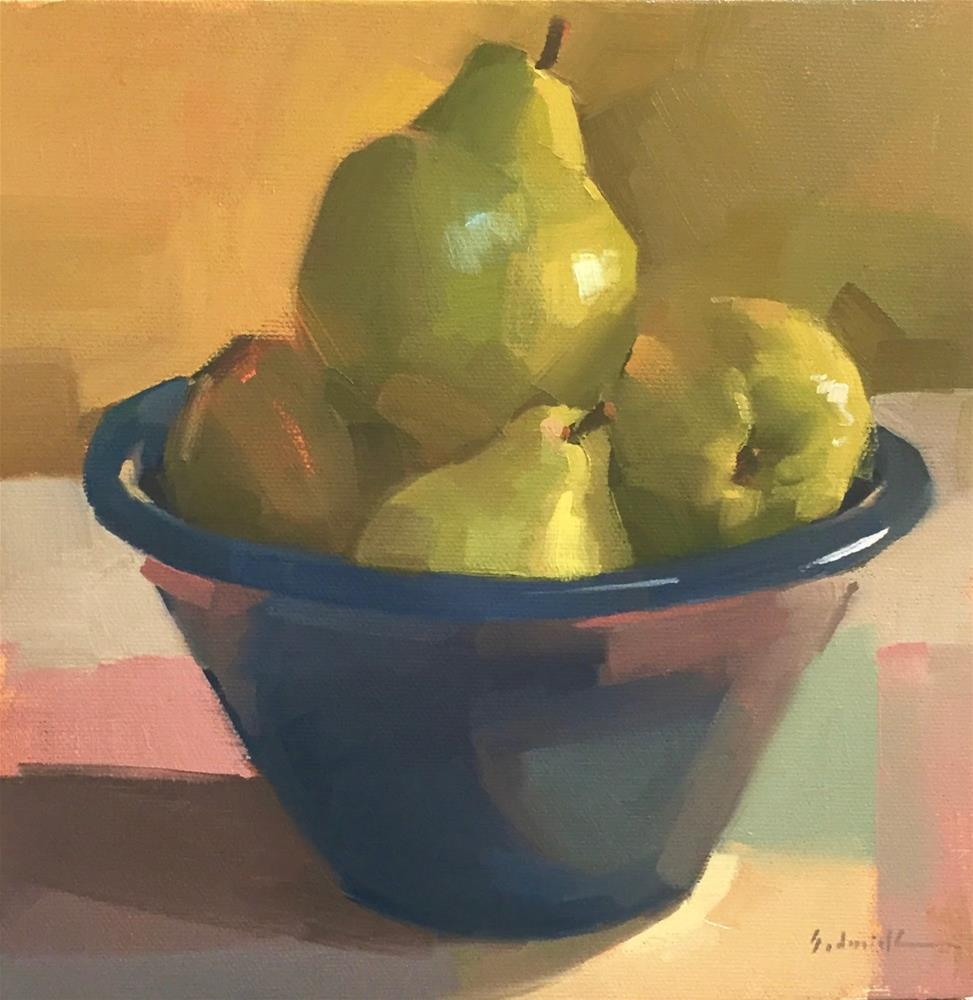 """Peaceful Pears, Primary Palette!"" original fine art by Sarah Sedwick"
