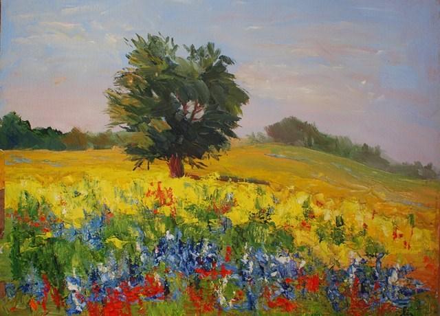 """""""Live Oak with Wildflowers"""" original fine art by Liz Zornes"""