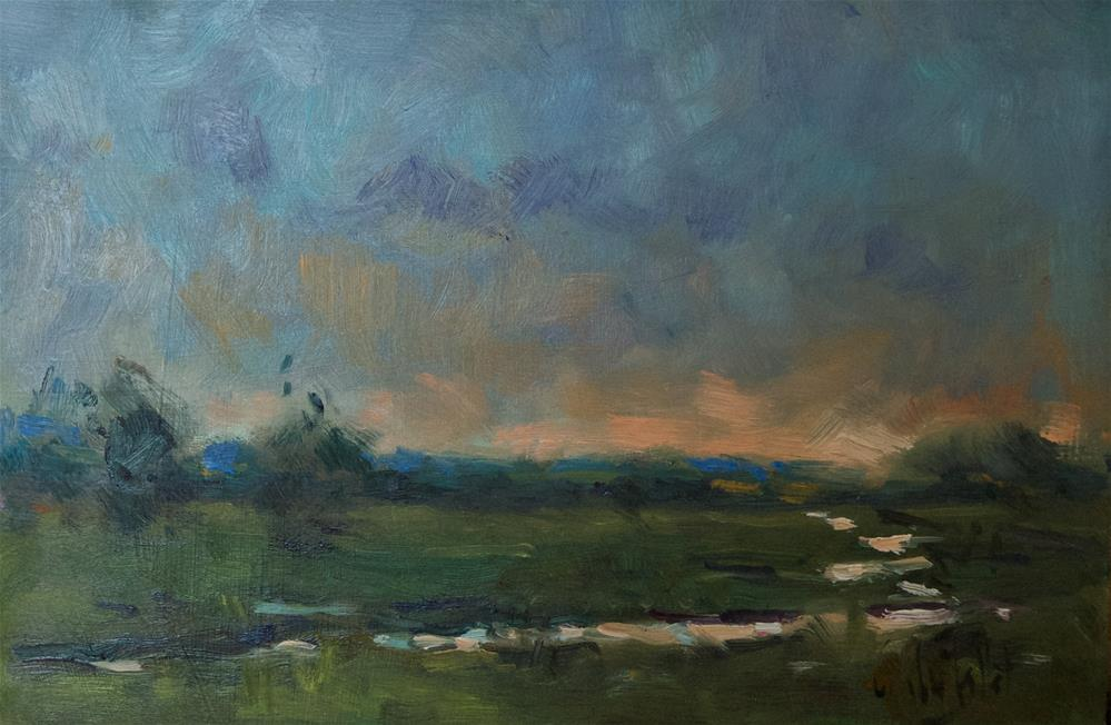 """Flooded Field at the Adur"" original fine art by Andre Pallat"