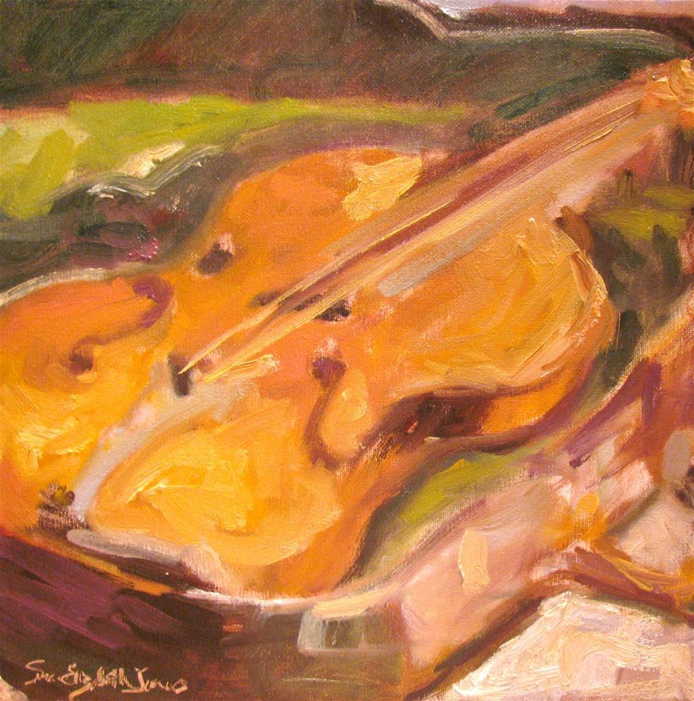 """""""Slumbering Violin"""" original fine art by Susan Elizabeth Jones"""
