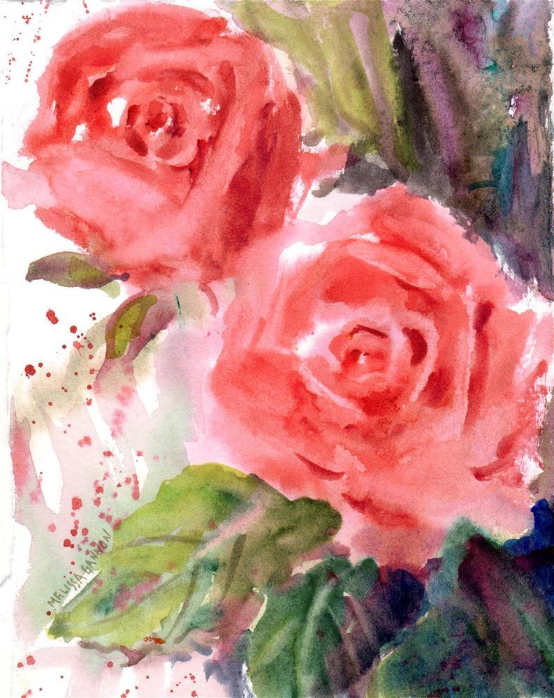"""Coral Roses"" original fine art by Melissa Gannon"