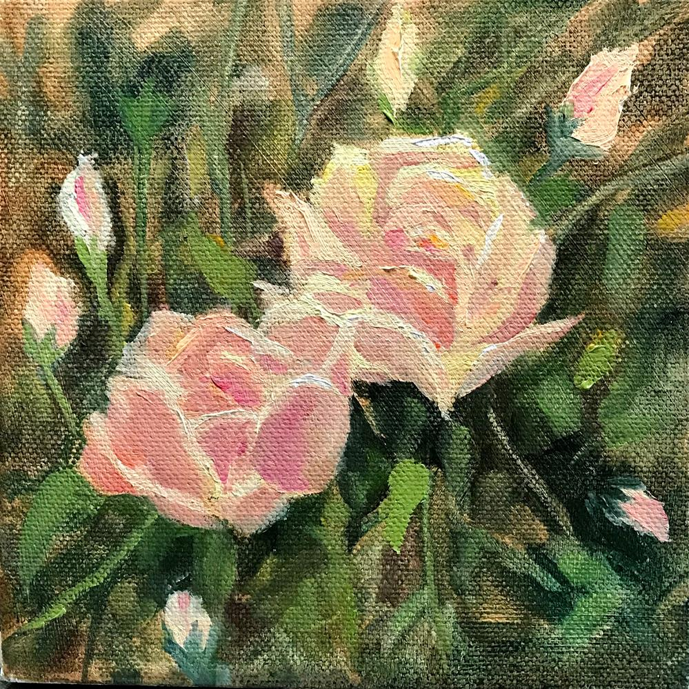 """two pink roses"" original fine art by Betty Argiros"