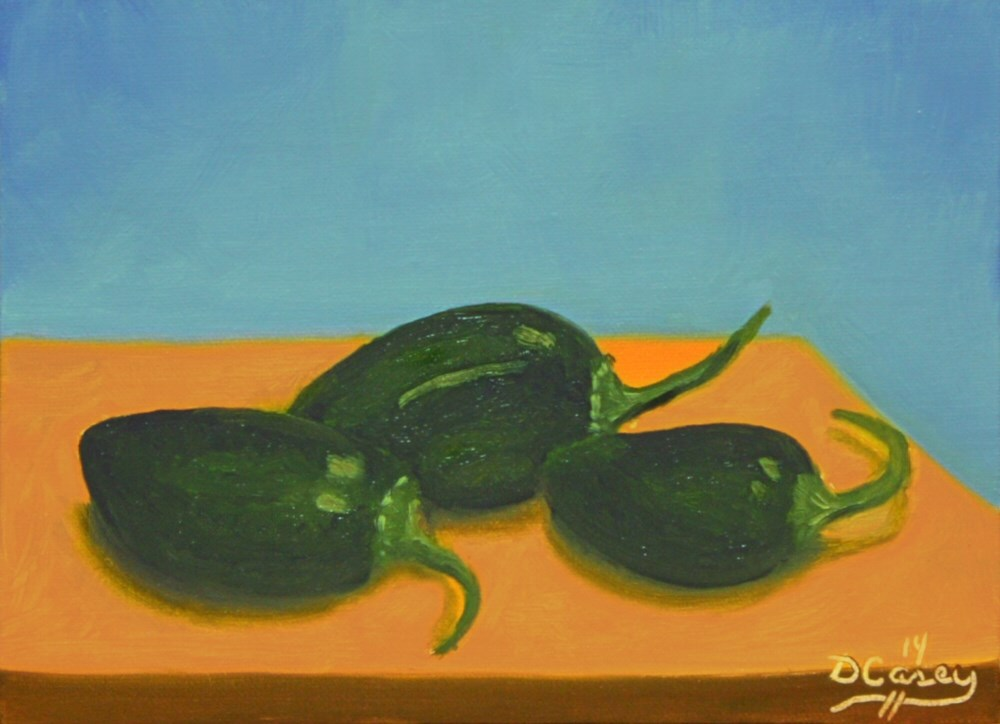 """""""141123 - Garden Peppers 001a 5x7 oil on linen panel - Dave Casey - TheDailyPainter"""" original fine art by Dave Casey"""