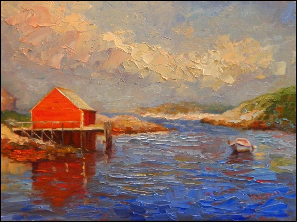 """Calm, 16x12, oil on linen, by Maryanne Jacobsen, boats, Nova scotia, Peggy's Cove, Halifax, palett"" original fine art by Maryanne Jacobsen"