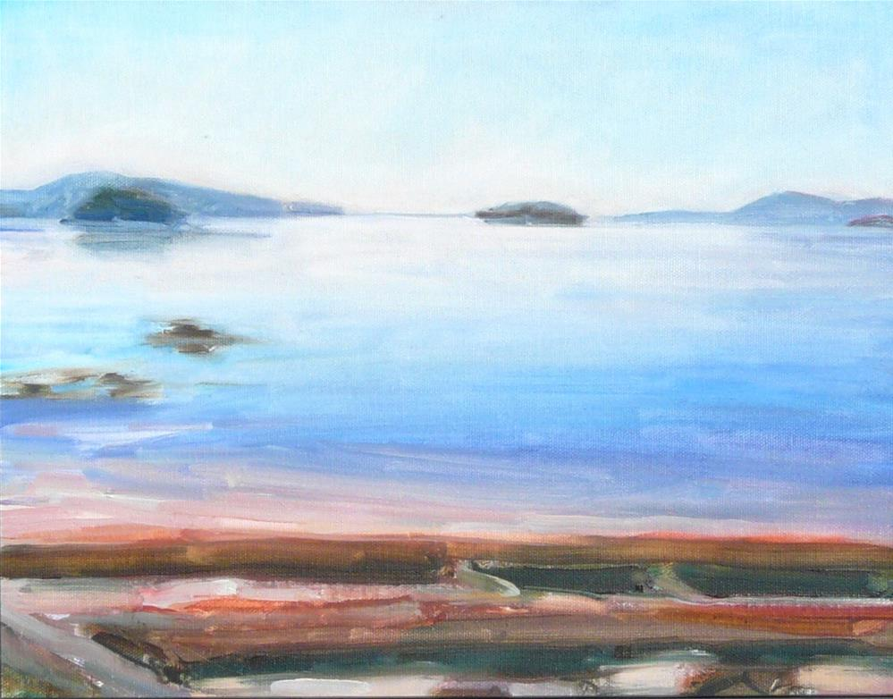 """View from the Bay Side,seascape,oil on panel,11x14,price$400"" original fine art by Joy Olney"