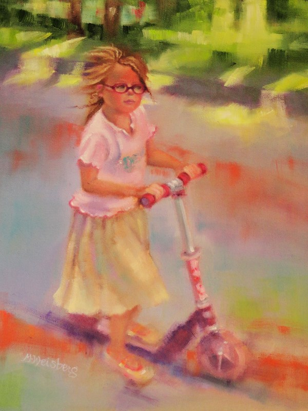 """Child Figurative Painting, Little Girl Little Girl with Glasses on A Scooter by Illinois Artist Ma"" original fine art by marilyn weisberg"