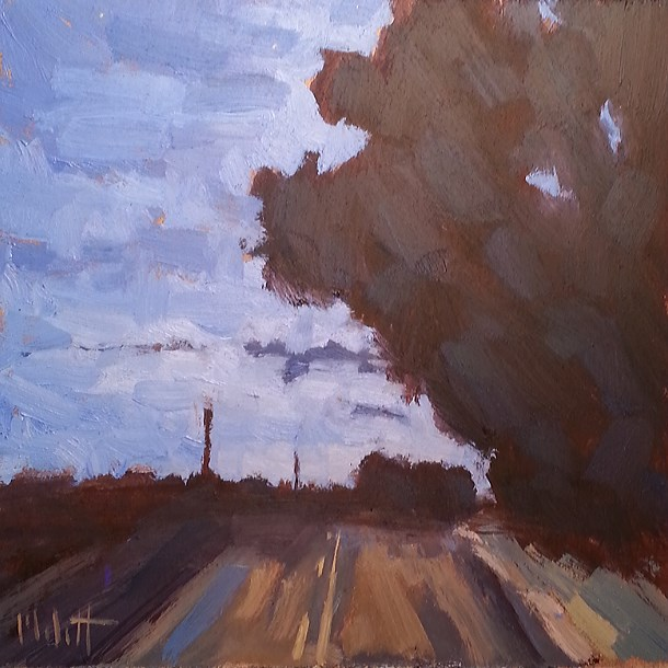 """Passenger Seat Summer Driving Original Daily Oil Painting"" original fine art by Heidi Malott"