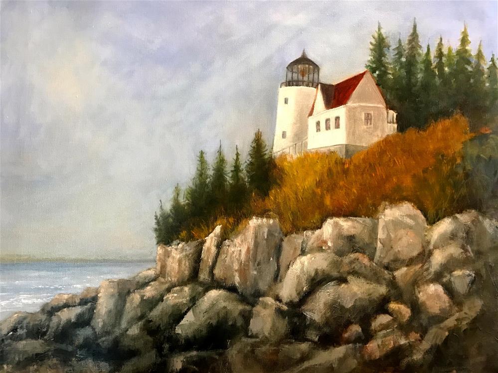 """""""Bass Harbor Lighthouse"""" original fine art by Betty Argiros"""