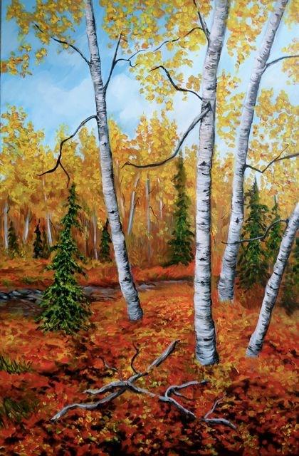 """Aspens Near Finlayson"" original fine art by Jackie Irvine"