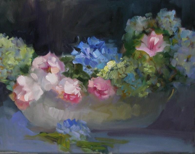 """Blue Hydrangeas"" original fine art by Donna Thomas"