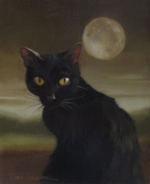 """""""Black Cat Full Moon"""" original fine art by Diane Hoeptner"""