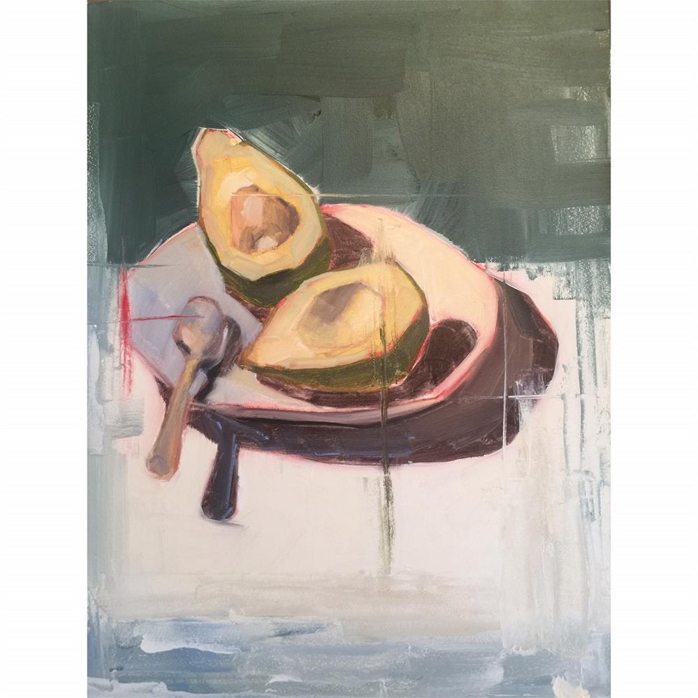 """""""577 Avocado on a Plate"""" original fine art by Jenny Doh"""