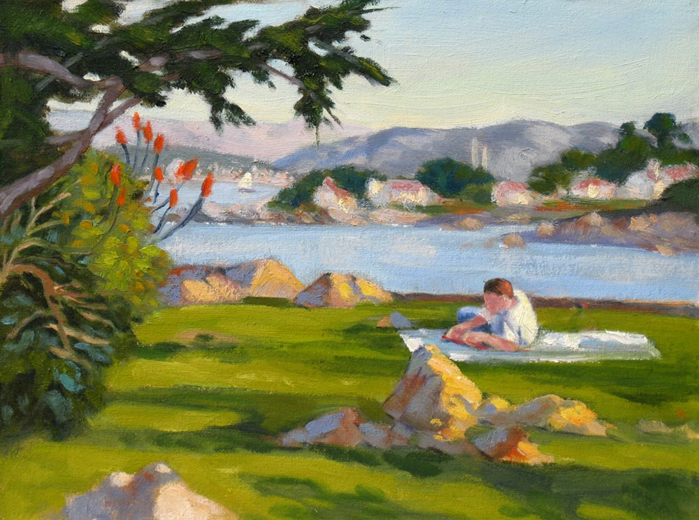 """Reading at Lovers Point"" original fine art by Rhett Regina Owings"