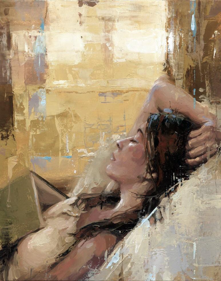 """Reading a Book No.3"" original fine art by Victor Bauer"