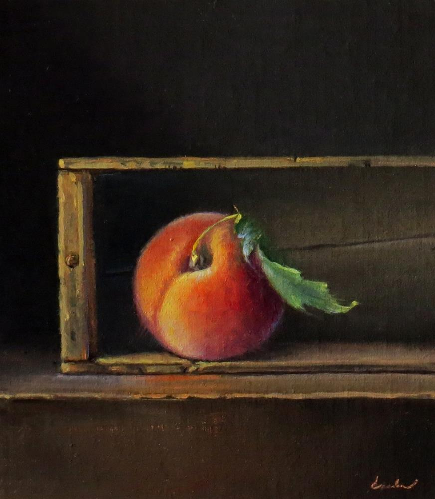 """Fresh Peach with Vintage Crate"" original fine art by Darla McDowell"