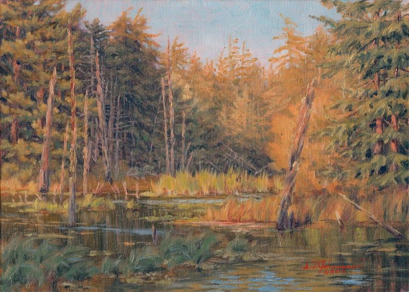 """C1551 Evening Light on Lost Lake (Lost Lake ACEC, Oregon Coast)"" original fine art by Steven Thor Johanneson"