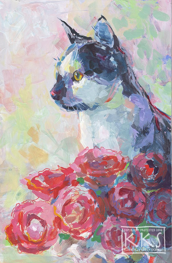 """Domino and Roses"" original fine art by Kimberly Santini"