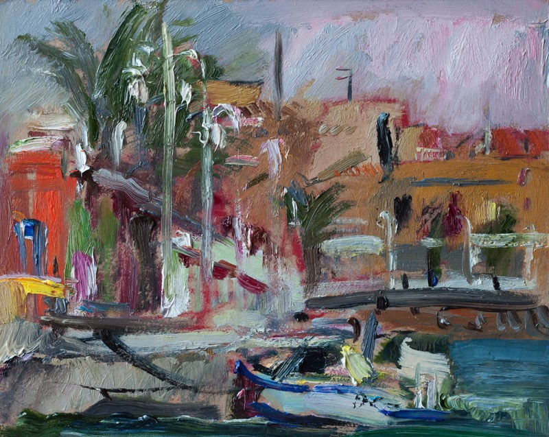 """Pink and Grey Morning Light in Cabo de Palos Marina"" original fine art by Anna Fine Art"