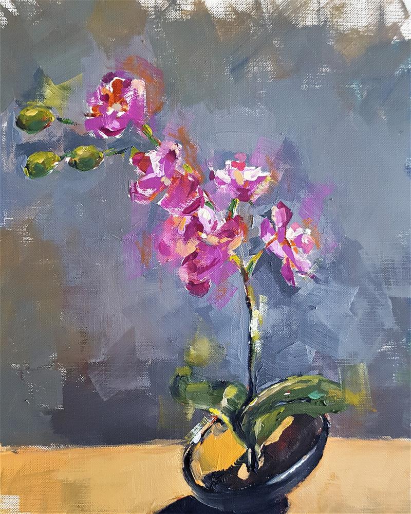 """Pink Orchids"" original fine art by Bhavna Misra"