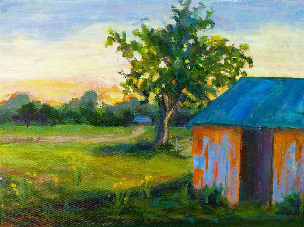 """Sunset at the Barn"" original fine art by Beth Carrington Brown"