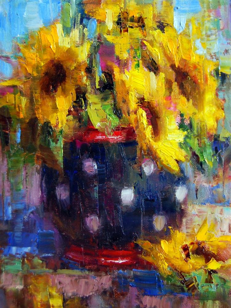 """""""Sunflowers and Polka-Dots"""" original fine art by Julie Ford Oliver"""