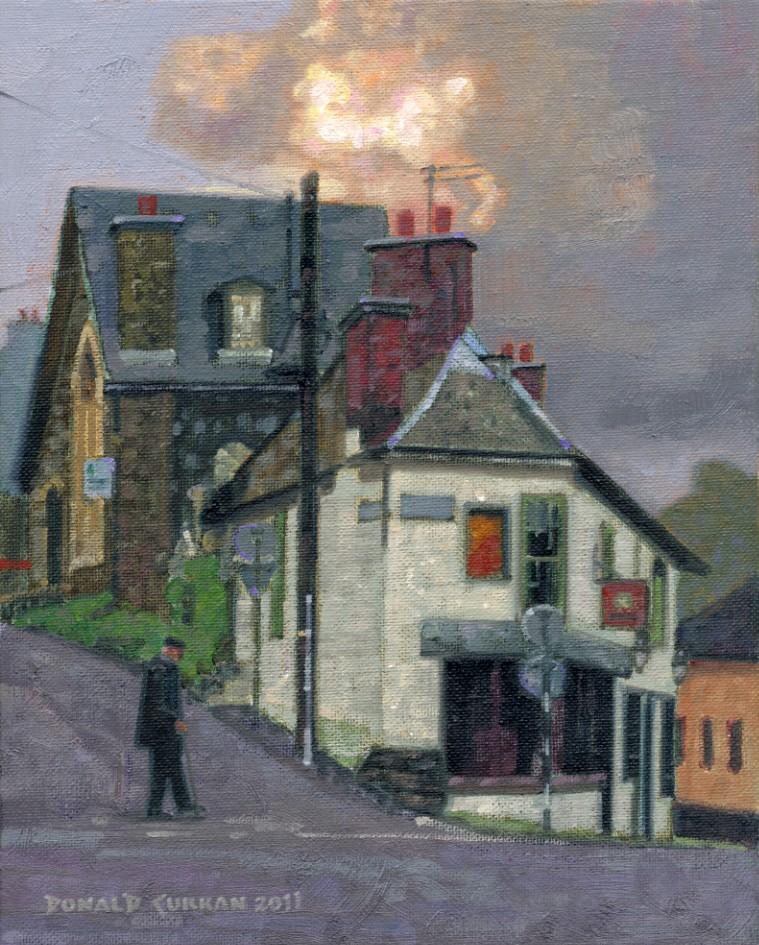 """Beautiful Clouds Over Town"" original fine art by Donald Curran"