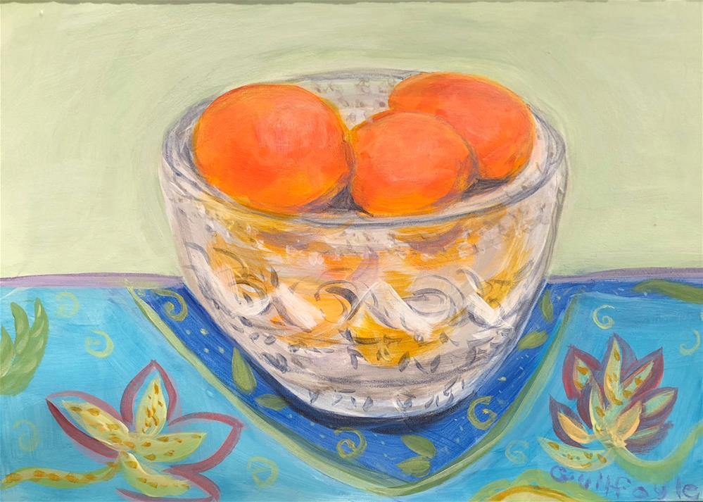 """""""Mandarin Oranges in Crystal Bowl on Blue Cloth"""" original fine art by Maud Guilfoyle"""