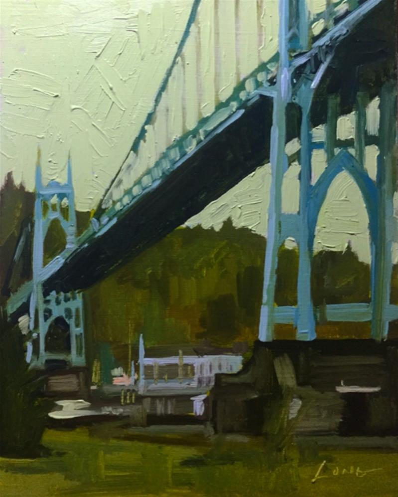 """St. Johns Bridge, Portland"" original fine art by Chris Long"