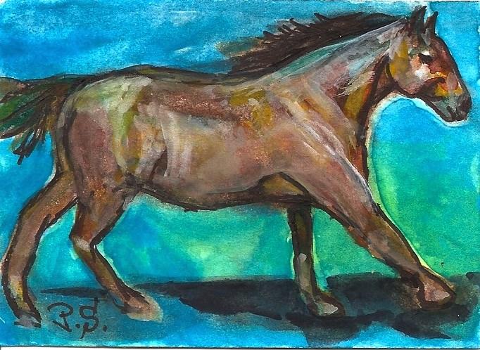 """ACEO Quarter Horse Mare Dapple Painting Art Illustration Art Penny Lee StewArt"" original fine art by Penny Lee StewArt"