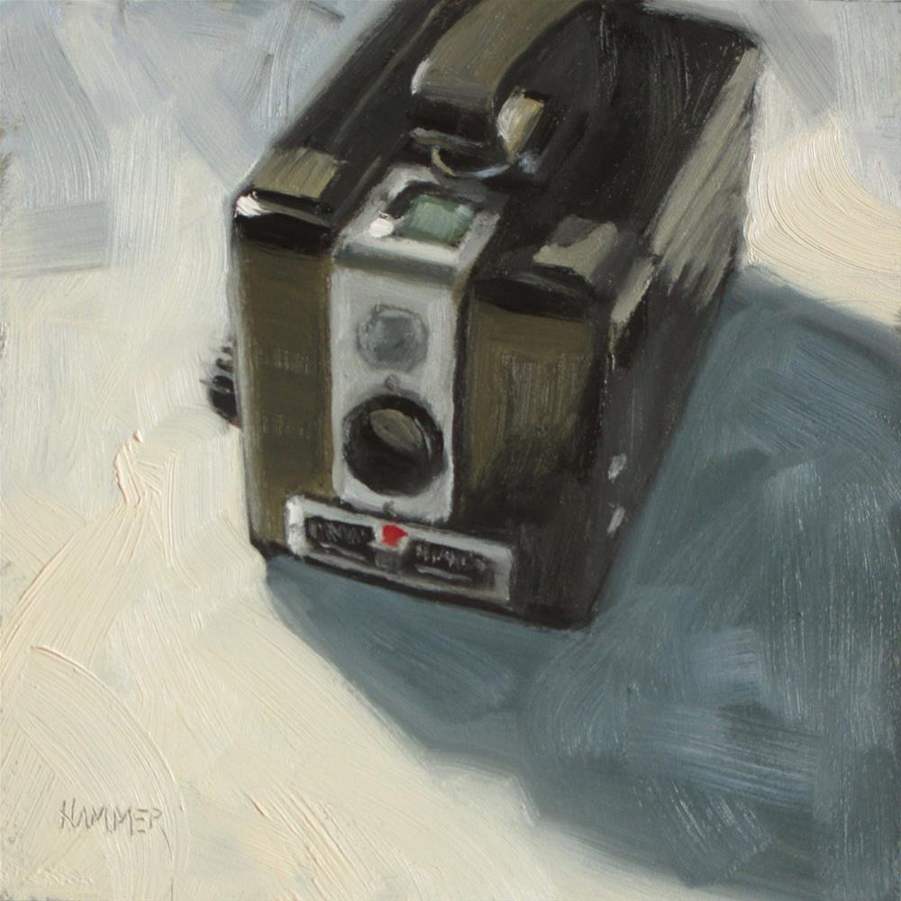 """Brownie Hawkeye  6in x 6in  oil"" original fine art by Claudia Hammer"