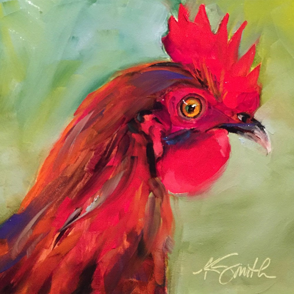 """""""red rooster"""" original fine art by Kim Smith"""