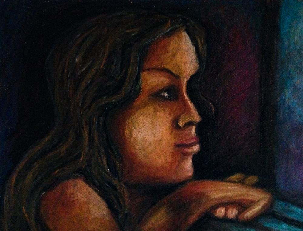 """""""Thinking (while looking ahead)"""" original fine art by Giovanni Antunez"""